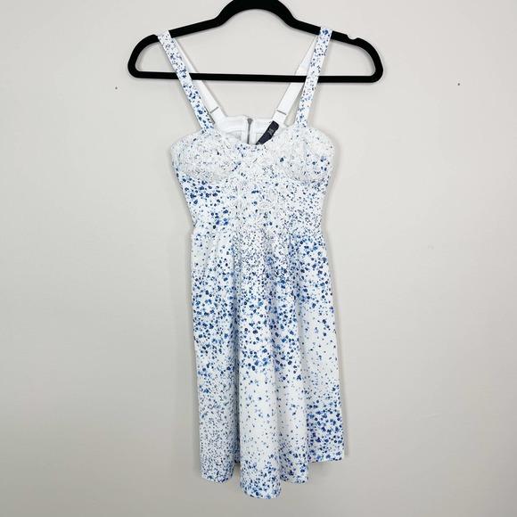 Jessica Simpson Floral Lace Dress 2XS White Blue